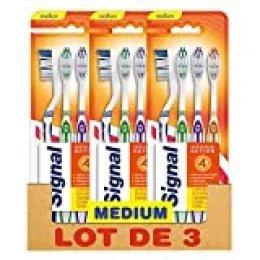 Signal - 4 cepillos de dientes manuales, dureza media - Pack de 3