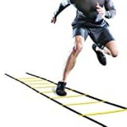 Wallfire Football Ladder Training, 4m Flexibilidad de fútbol Speed Training Fitness Fitness Ladder 8-Rung Entrenamiento ajustable Equipo de agilidad con bolsa de transporte