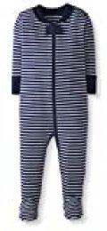 Moon and Back de Hanna Andersson - Pijama de una pieza con pies hecho de algodón orgánico para bebé, Marino, 0 messes (49 CM)