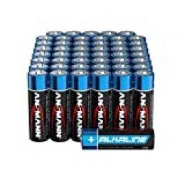 ANSMANN 1522-0019 Baterías alcalinas 1.5V - paquete de 48 baterías Mignon AA negras - Batería alcalina para controles remotos, antorchas, relojes de alarma o relojes de pared - Baterías Doble A - embalaje ecológico