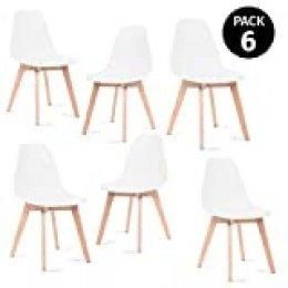 Mc Haus KATLA - Pack 6 sillas Blancas Tulip Comedor oficina, Sillas Madera nórdicas con patas de madera y respaldo ergonómico 47x46x82cm