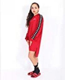 Kappa Authentic Alkha Heritage 222 Banda Vestido de Manga Corta, Mujer, Rojo (Red Dark/Black), XS