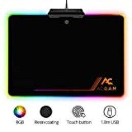 ACGAM P09 RGB Alfombrilla Gaming para Ratón,350mm x 250mm x 0.36mm,9 Modos de iluminación RGB,Superfície con Textura Especial, Resistente al Agua Compatible para Gamers de PC & Mac (Negro)