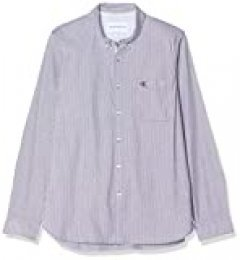 Calvin Klein Washed Stripe Stretch Shirt 'f' Camisa, Azul (Night Sky Chw), Medium para Hombre