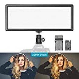 Neewer Luz Regulable LED Super Fino Bi-Color con Pantalla LCD 2600mAh Batería de Li-ion y Cargador - Panel LED de Ultra Alta Potencia 3200K-5500K para Cámara Foto Estudio Video