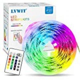 Tiras LED 5M, 5050 RGB con Mando/Control Remoto, 150 LEDs Adaptador de Alimentación 12V 2A, Strip Led para TV Coche Pasillo Bar y Fiestas - LVWIT.