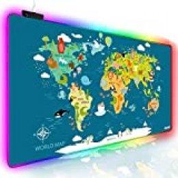Alfombrilla de ratón para juegos RGB ampliada, extra grande para juegos, alfombrilla de ratón para jugador, resistente al agua, para oficina DEST con 10 modos de iluminación, para PC Ordenador RGB Teclado Ratón MacBook, 800 x 400