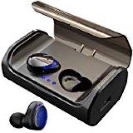HolyHigh Auriculares Bluetooth 5.0 con 3000mAh Estuche de Carga CVC8.0 Cascos Bluetooth Inalámbricos Impermeable con Micrófono para Deportes, Gimnasio para iOS, Android, Samsung, Huawei