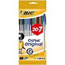 BIC Cristal Original bolígrafos punta media (1,0 mm) - colores Surtidos, Blíster de 20+7