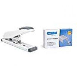 Rapesco Eco HD 100 Grapadora de gruesos, 100 hojas de capacidad, blanco mate + Grapas Caja de 1000 grapas 923/8 mm (tipo 23), para grapadoras de gruesos
