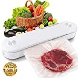 SAMEBOO Mini sellador al vacío automático para alimentos secos y húmedos, manténgase hasta 7 veces más fresco con 10 piezas de bolsas de aluminio / bolsas de vacío [blanco]