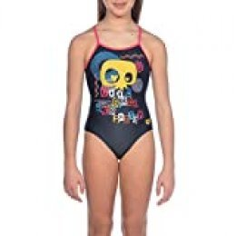 Arena G Jr Light Drop Back One Piece L Bañador Deportivo Niña Cool, Niñas, Black-Freak Rose, 10-11