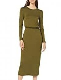 Marca Amazon - find. Vestido Largo Estilo Camiseta de Punto Mujer, Verde (Green), 44, Label: XL