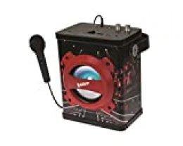 La Voz, The Voice - Altavoz Portátil Inalámbrico con Micrófono, Karaoke, Bluetooth, Aux-In, USB, SD/TF, Toma Instrumento, Efectos Luminosos, Batería Recargable, Negro/Rojo (Lexibook K920TV)