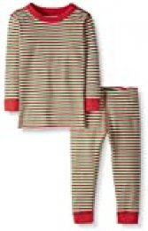 Moon and Back by Hanna Andersson 2 Piece Long Sleeve Pajama Set Sets, rojo, verde, (Red/Green Stripe), 6-12 messes (67-72 CM)