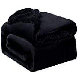 Bedsure Manta Reversible de Franela/Sherpa 150x200cm - Manta para Cama 90 de 100% Microfibra Extra Suave - Manta de Felpa Negro de Doble Cara