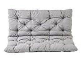 Ambientehome 90266 - Funda de banco Hanko de 2 asientos y cojín de respaldo, Color Gris, aprox.120 x 98 x 8 cm