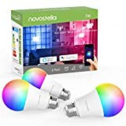 Bombilla Inteligente LED E27 RGB, Lámpara WiFi Ajustable (2700-6500K)+RGB Multicolor, Compatible con Alexa, Google Home 7W 600lm, No se Requiere Hub-3 Pack