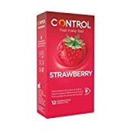 Preservativos Control Strawberry - Caja de condones con aroma y sabor a fresa, lubricados de color rojo, perfecta adaptabilidad, sexo seguro, 12 unidades