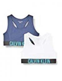 Calvin Klein 2pk Bralette Sujetador, Azul (1BlackIris/1White 0HC), 8-9 años (Talla del Fabricante: 8-10) para Niñas