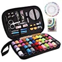 Depple - Set de costura con 234 piezas de accesorios de costura, 24 rollos de hilo incluidos, herramienta de costura completa para principiantes, viajeros, familiares y amigos