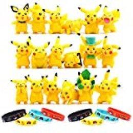 OMZGXGOD - 18 Piezas Pokemon Pikachu Monster Mini Figure + 8 Piezas Pulsera de Silicona,Fiesta para niños y Adultos
