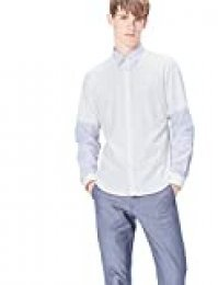 Marca Amazon - find. Camisa de Manga Larga Slim Fit con Paneles para Hombre