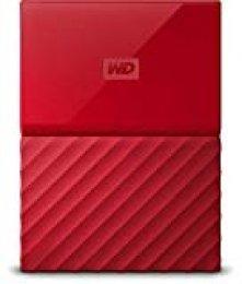 WD My Passport - Disco Duro Portátil de 3 TB y Software de Copia de Seguridad Automática, Rojo