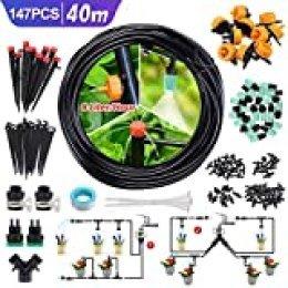 CAVEEN Sistema de Riego de Jardín 40M, Kit de Riego por Goteo Micro Riego Automático para Jardín/Invernadero/Césped/Maceta (Verde Oscuro)