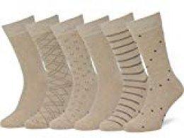Easton Marlowe 6 PR Calcetines Sutilmente Estampados Hombre - 6pk #4-8, arena beige - 39-42 talla de calzado UE