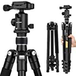 K&F Concept Trípode Completo TM2324 Trípode Flexible para Cámara Canon Sony Nikon con 360°Rótula de Bola Placa Rápida Liberación Bolsa de Transporte (Despacho Aleatorio de Oro y Plata)