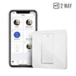 Interruptor de Pared Wi-Fi 2 Vías, 1 Canal, Compatible con Alexa, Asistente de Google y SmartThings. meross MSS550X. (Se Requiere un Cable Neutral al Instalar)