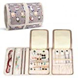 Teamoy Roll para Joyería Organizador de joyas Estuche de viaje para collares, pendientes, pulseras, broches, 3 carpetas, varios departamentos (gato de dibujos animados)