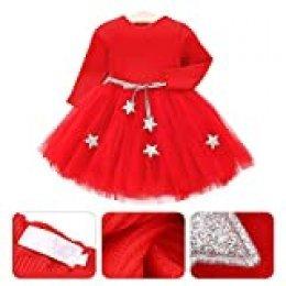 Vestido de tutú de punto con mangas largas para bebés Vestido de tul con princesa infantil y falda con mezcla de algodón con cintura de estrellas para niños(70-rojo)