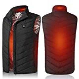 Festnight - Chaleco calefactable de invierno con bolsillo para hombre, para camping, pesca, esquí, senderismo, temperaturas ajustables, carga rápida