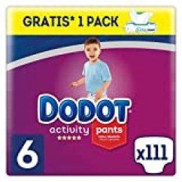 Dodot Activity Pants Pañal-Braguita Talla 6, 111 Pañales, 15+kg + Dodot Aqua Pure Toallitas para bebé, 1 Pack de 48 Toallitas Gratis