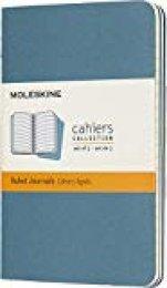 Moleskine - Cahier Journal Cuaderno de Notas, Set de 3 Cuadernos con Páginas, Tapa de Cartón y Cosido de Algodón Visible, Color Azul Teal