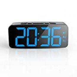 Pingko - Reloj despertador digital con pantalla LED inteligente, función de repetición, brillo ajustable, pequeño y ligero para viajes, escritorio o dormitorio