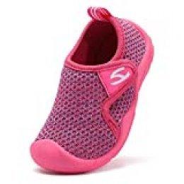 INMINPIN Zapatillas de Estar por Casa para Niños Zapatos de Interior de Punto Infantil Niña Niño Cómodos Suave Antideslizante Zapatos de Deporte,Rosa,30EU.