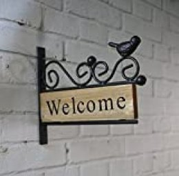 DishyKooker letrero de bienvenida para decoración de pared exterior, marco de hierro fundido y tablero de madera, placa de bienvenida colgante decorativa para puerta, entrada, marrón