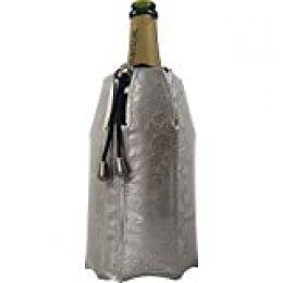 Vacu Vin 38855626-Enfriador rápido, Estampado Color Platino Enfriador para Botellas de Cava, plástico y Gel, Plateado, cm