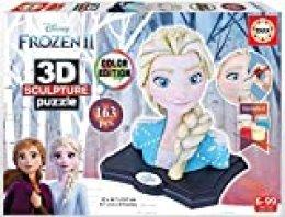 Educa Borrás-3D Sculpture Puzzle Frozen II, Elsa, montar y pintar, incluye pinturas y pincel, 6 años, Color variado (18374) , color/modelo surtido