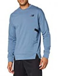 New Balance Reclaim Hybrid Crew Camiseta, Hombre, Chambray Heather, Medium