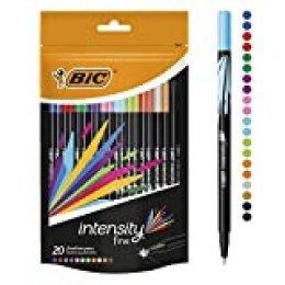 BIC Intensity Fine rotuladores punta fina (0,8 mm) – colores Surtidos, Blíster de 20 unidades