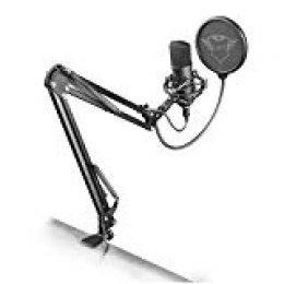 Trust Gaming GXT 252 Emita Plus - Micrófono USB profesional, con condensador, con brazo para streaming, color negro