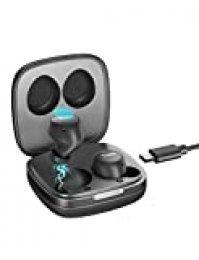 Auriculares inalámbricos Tribit FlyBuds - 5.0 Auriculares Bluetooth con 30 Horas de Tiempo de Juego, IPX5 Auriculares inalámbricos a Prueba de Agua con micrófono Incorporado Control de Toque