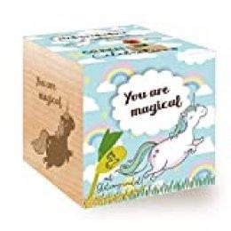 Feel Green Grow Your Own - Cubo de Madera con Grabado láser «You Are Magical», Idea de Regalo sostenible, Juego de Cultivo ecológico, Fabricado en Austria