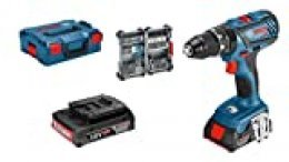 Bosch Professional GSB 18V-28 Taladro percutor, 2 baterías x 2,0 Ah, set 35 accesorios, en L-BOXX, 36 W, 18 V, Azul, Única