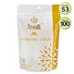 """AMOR""""Gold"""" 100 Preservativos De Naturales Para Una Sensación Auténtica, Real Y Extra Húmeda (Testados En Alemania)"""