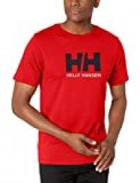 Helly Hansen T-Shirt Camiseta de Manga Corta Hecha de algodón, con Logo HH en el Pecho, Hombre, Alert Red, L